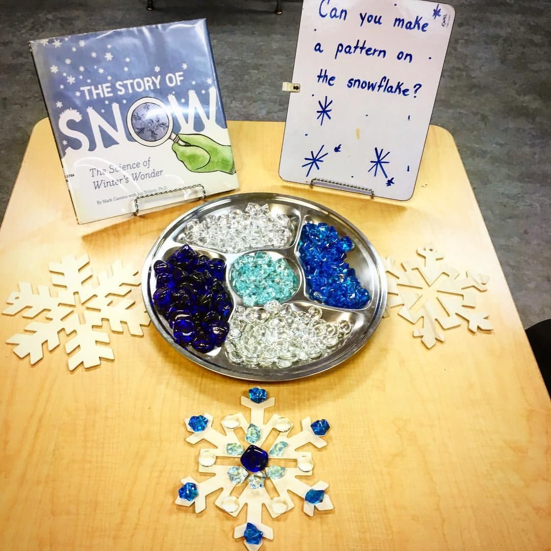 Using Loose Parts To Make Patterns On The Snowflakes