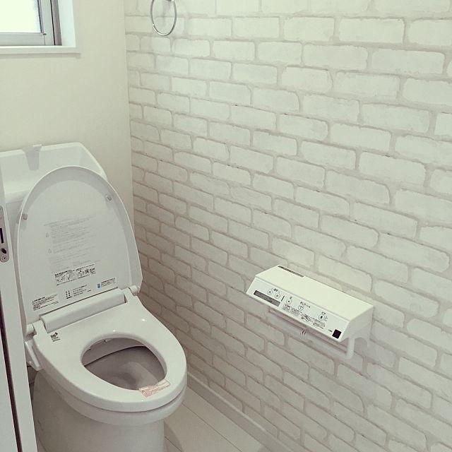 バス トイレ アクセントクロス Lixil マイホーム建築中 ホワイトインテリア などのインテリア実例 2016 01 21 19 34 02 Roomclip ルームクリップ トイレ アクセントクロス トイレ トイレのアイデア