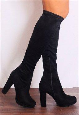 f5d30de049 Black Stretch Sock Knee Heeled High Boots   Shoes   Stretch knee ...