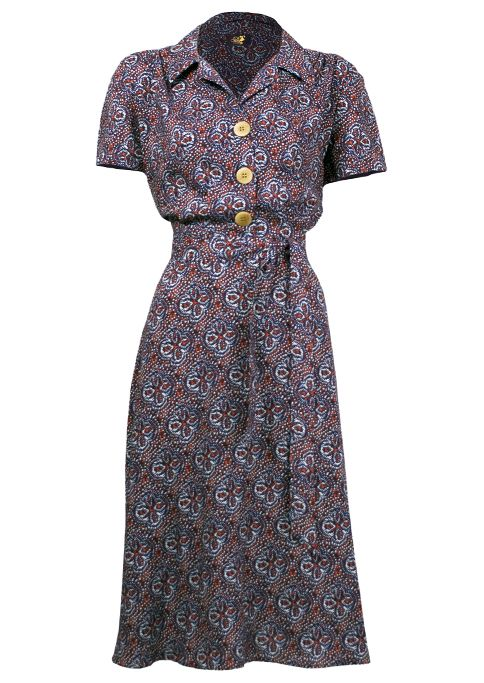 1940s Shirt Dress - red ditsy