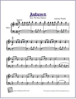 Autumn Four Seasons By Antonio Vivaldi Sheet Music For Easy