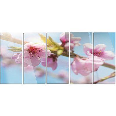 DesignArt 'Stem of Peach Blossom Flowers' 5 Piece Photographic Print on Canvas Set