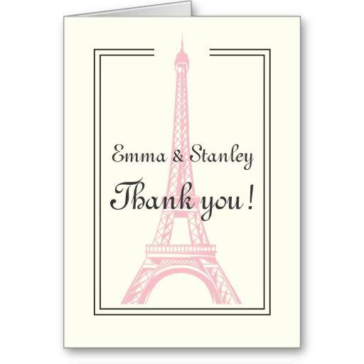 Paris wedding pink Eiffel Tower ivory Thank You Greeting Card