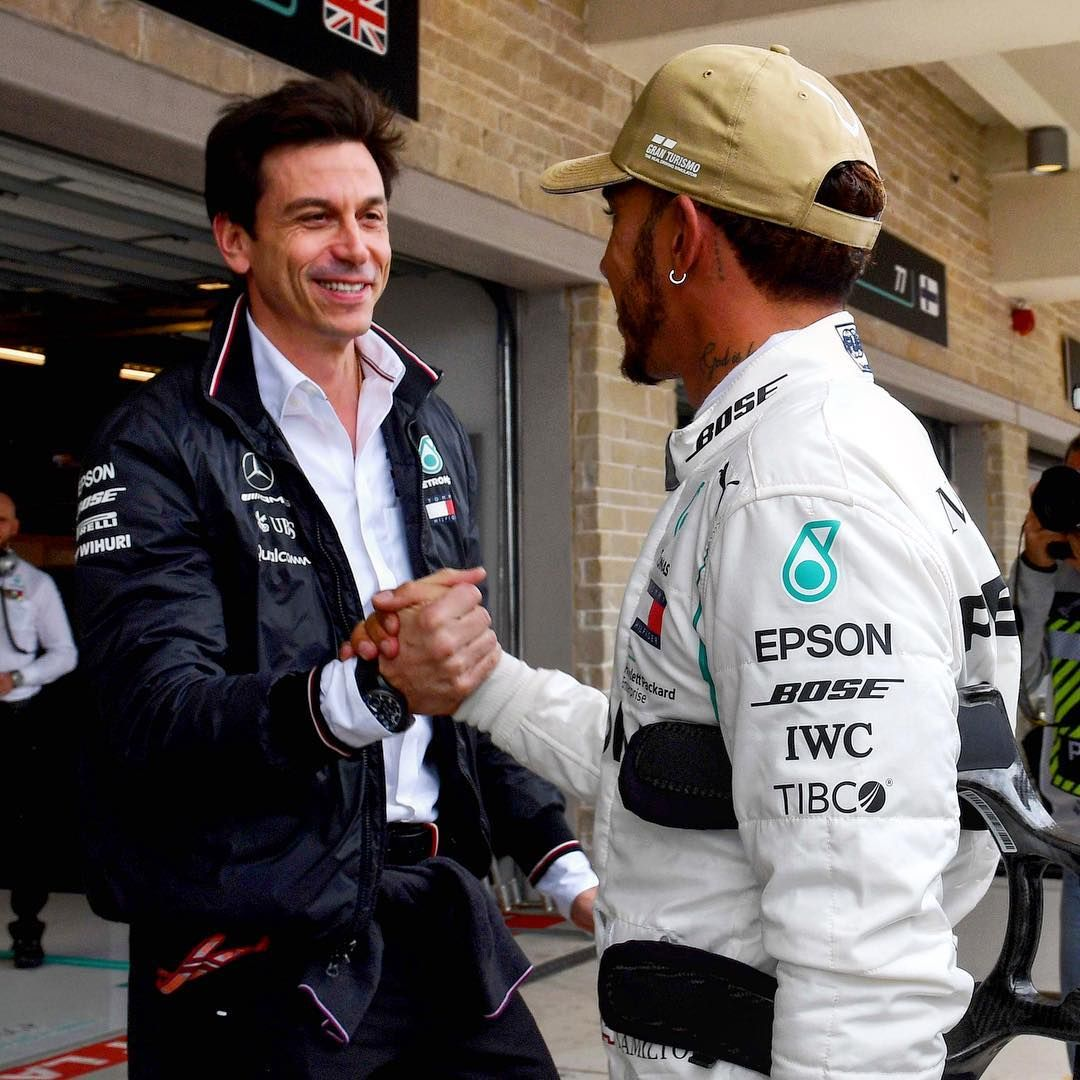 """F1SUTTON on Instagram: """"High five from the boss Toto Wolff after Lewis  Hamilton clinches Pole No81 at the USGP in Austin. . . .… 