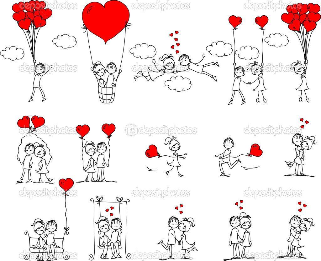 Herunterladen - Valentin doodle, jungen und Mädchen, Vektor — Stockillustration #13736509
