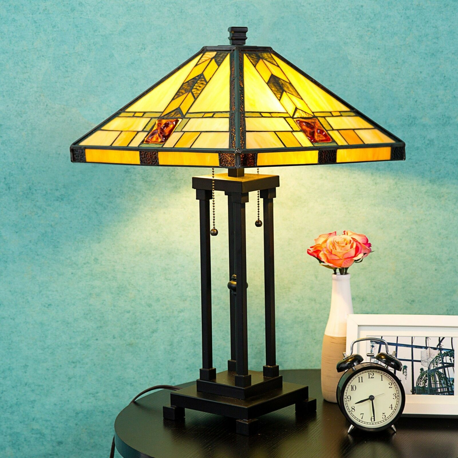 Tiffany Style Lamp Table Lamp Mission Double Lit Design Lighting Wood Home Decor Tiffany Lamps Ide Tiffany Style Table Lamps Tiffany Style Lamp Table Lamp