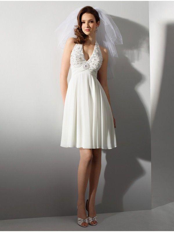 Halter Strapped Short Wedding Dress With V Neckline No We Haven T