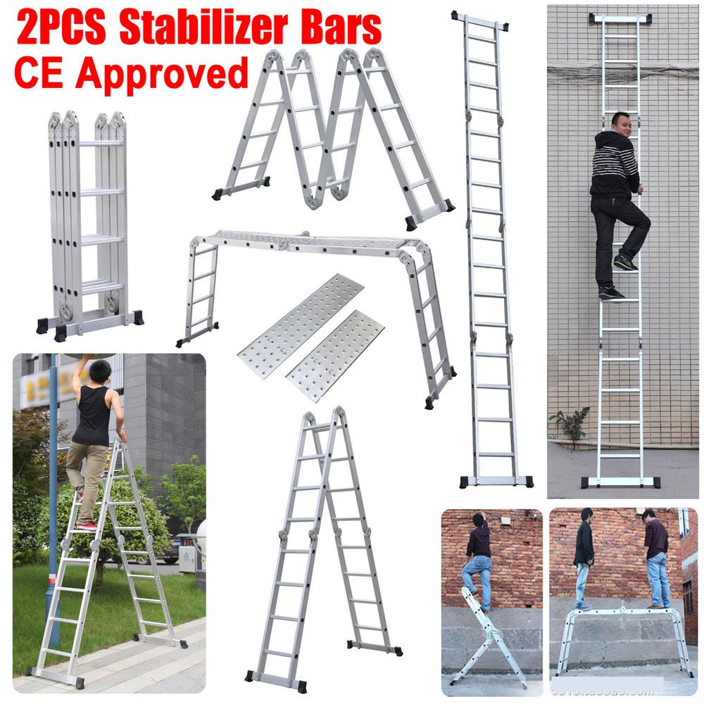 New 330lb 15 5ft Step Platform Multi Purpose Aluminum Folding Scaffold Ladder Ladder Step Ladders Scaffold Ladder