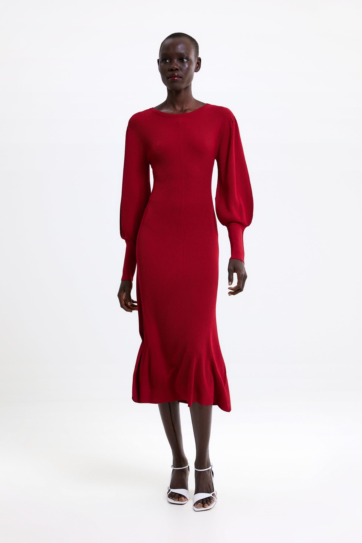 Puff Sleeve Dress New In Woman Zara Malaysia Dresses With Sleeves Zara Red Dress Red Midi Dress [ 2880 x 1920 Pixel ]