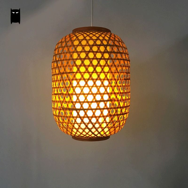 Bamboo wicker lantern pendant light fixture asian rustic ceiling cheap pendant light fixture buy quality japanese hanging lamps directly from china hanging lamp suppliers bamboo wicker lantern pendant light fixture asia aloadofball Images