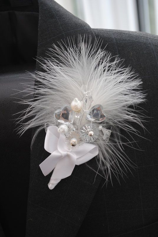 Crystal & Feather Corsage