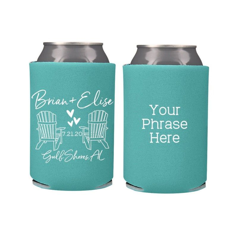 Rustic Wedding Beach Wedding Favors Fall Wedding Favors for Guests Adirondack Chairs Nautical Mountain Personalized Wedding Can Coolers