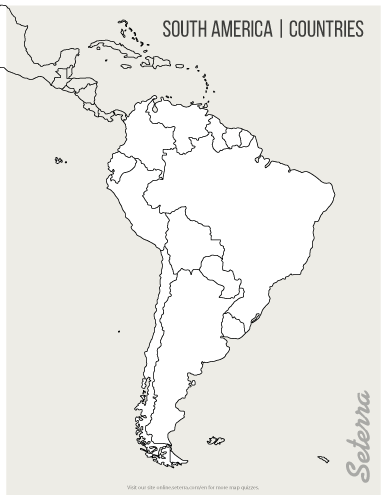 01. Blank printable South America countries map (pdf) | Outline maps ...