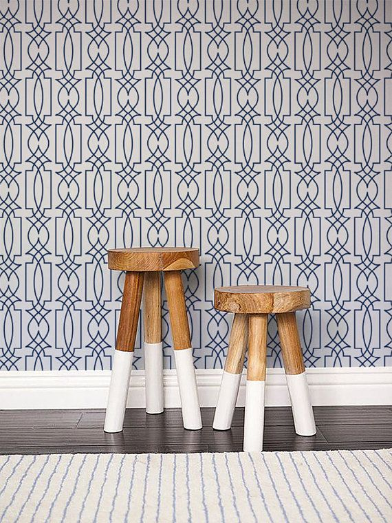 Self Adhesive Vinyl Temporary Removable Wallpaper Wall Decal Trellis Wallpaper Pattern Print 104 Snow Catalina