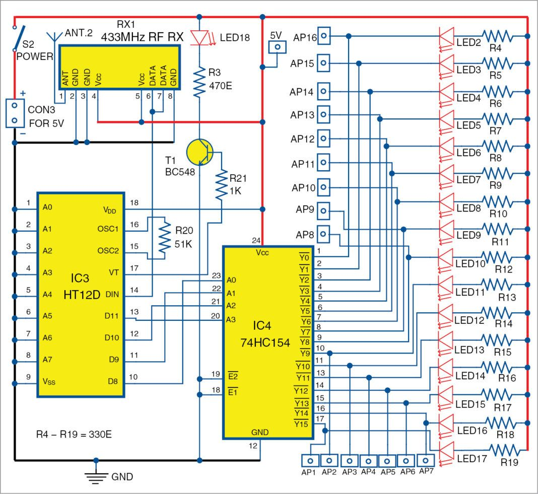 Control Up To 16 Appliances Without Using A Microcontroller In 2020 Electronic Circuit Projects Circuit Diagram Electronics Circuit