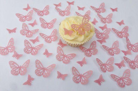 Dekoracje i figurki do ciast Dom i Meble 24 X BUTTERFLY & FLOWERS EDIBLE CUPCAKE TOPPERS FB4