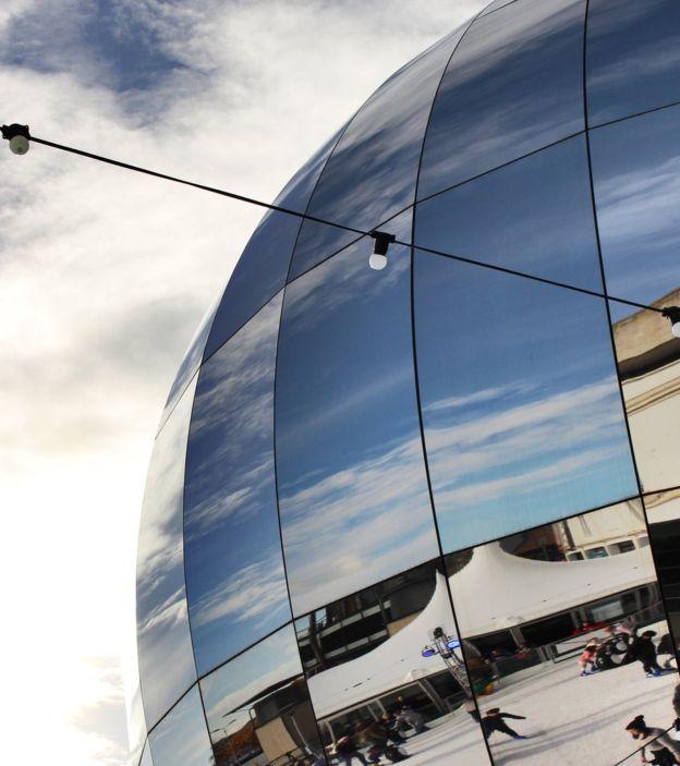 Rich Carter took this photograph of ice skaters at Bristol Science Centre's planetarium in Millennium Square.