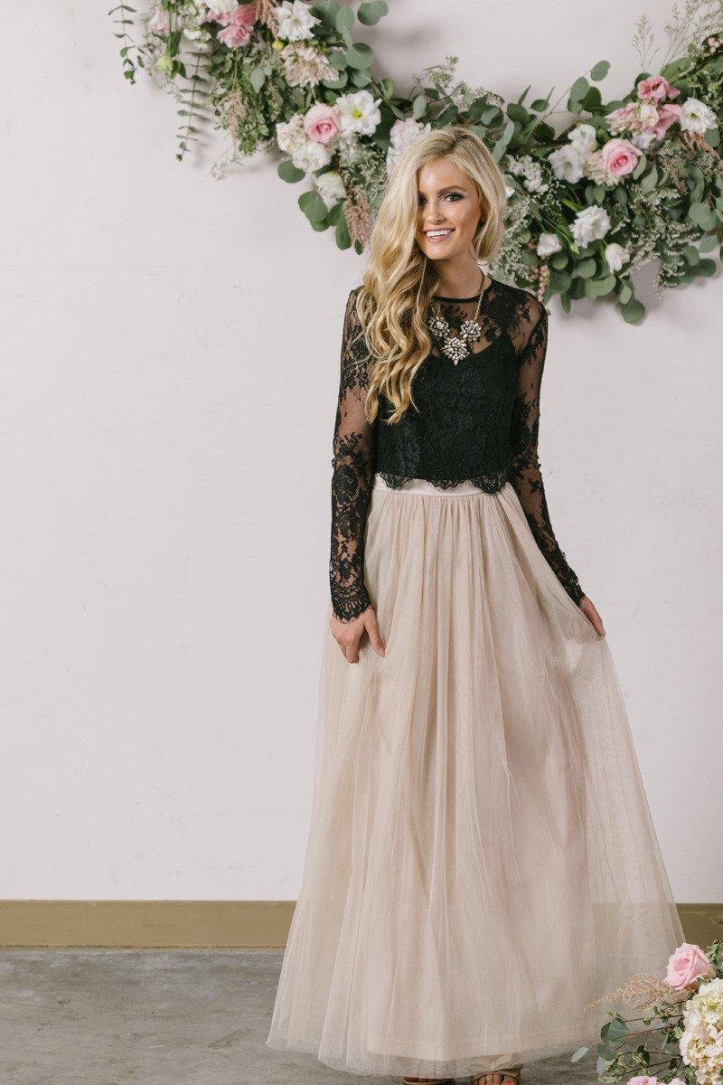 Anabelle grey full tulle maxi skirt in everunderwood