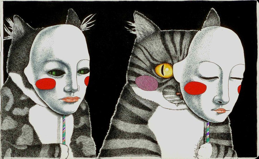 Don't trust a cat with a mask by ~LadyOrlandoArt on deviantART