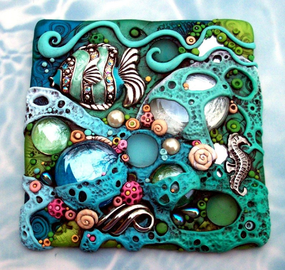 Mosaic Art Tile Coral Reef Tropical Fish and Seahorse Suncatcher OOAK.by MandarinMoon on Etsy