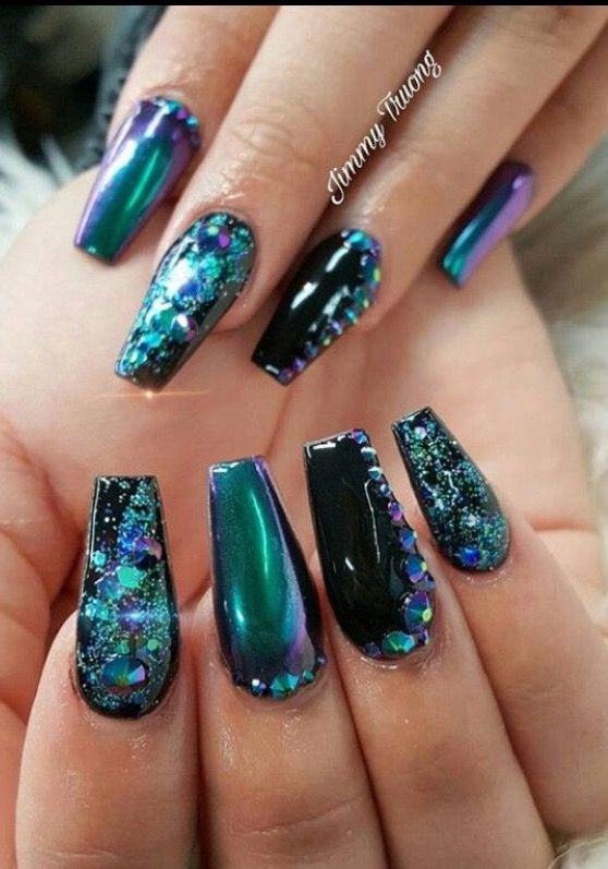 # dark teal & black nail art
