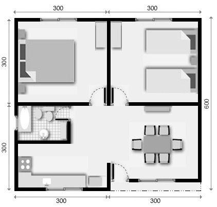 4 plano de casa 2 dormitorios apartamento peque o en for Diseno de apartamento de 4x8 mts