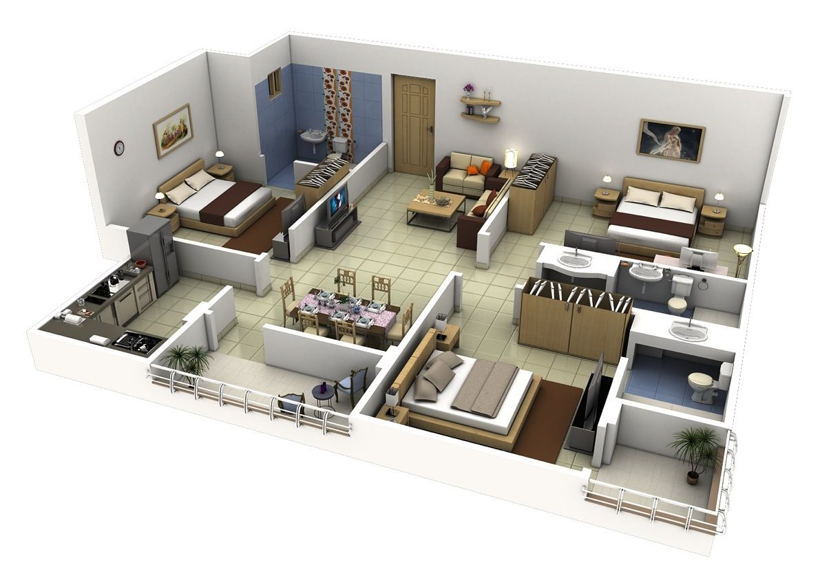 50 three 3 bedroom apartment house plans roommate and for 3d bedroom plan