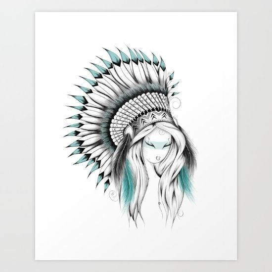 Indian Headdress Art Print  #art #society6 #loujah  #boho #bohochic  #illustration #draw