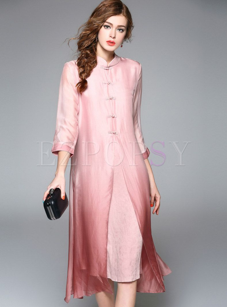 1f90d2dda7 Shop for high quality Elegant Silk Pure Color Shift Dress online at cheap  prices and discover fashion at Ezpopsy.com