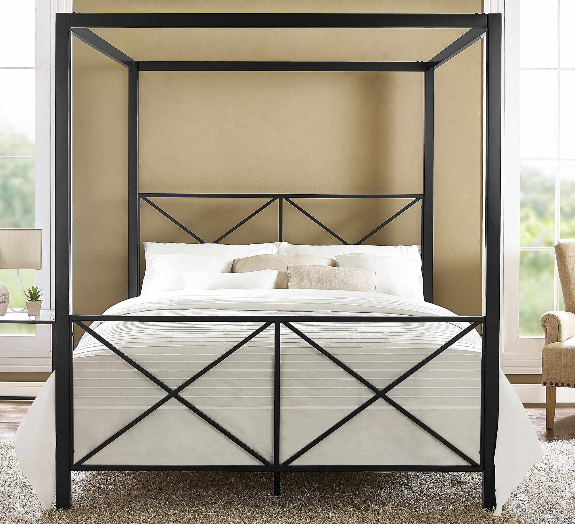 Tilden standard metal bed inspire q bedroom spaces apartment bedroom - Dhp Rosedale Modern Romance Metal Queen Canopy Bed Frame In Black Sturdy Metal Frame