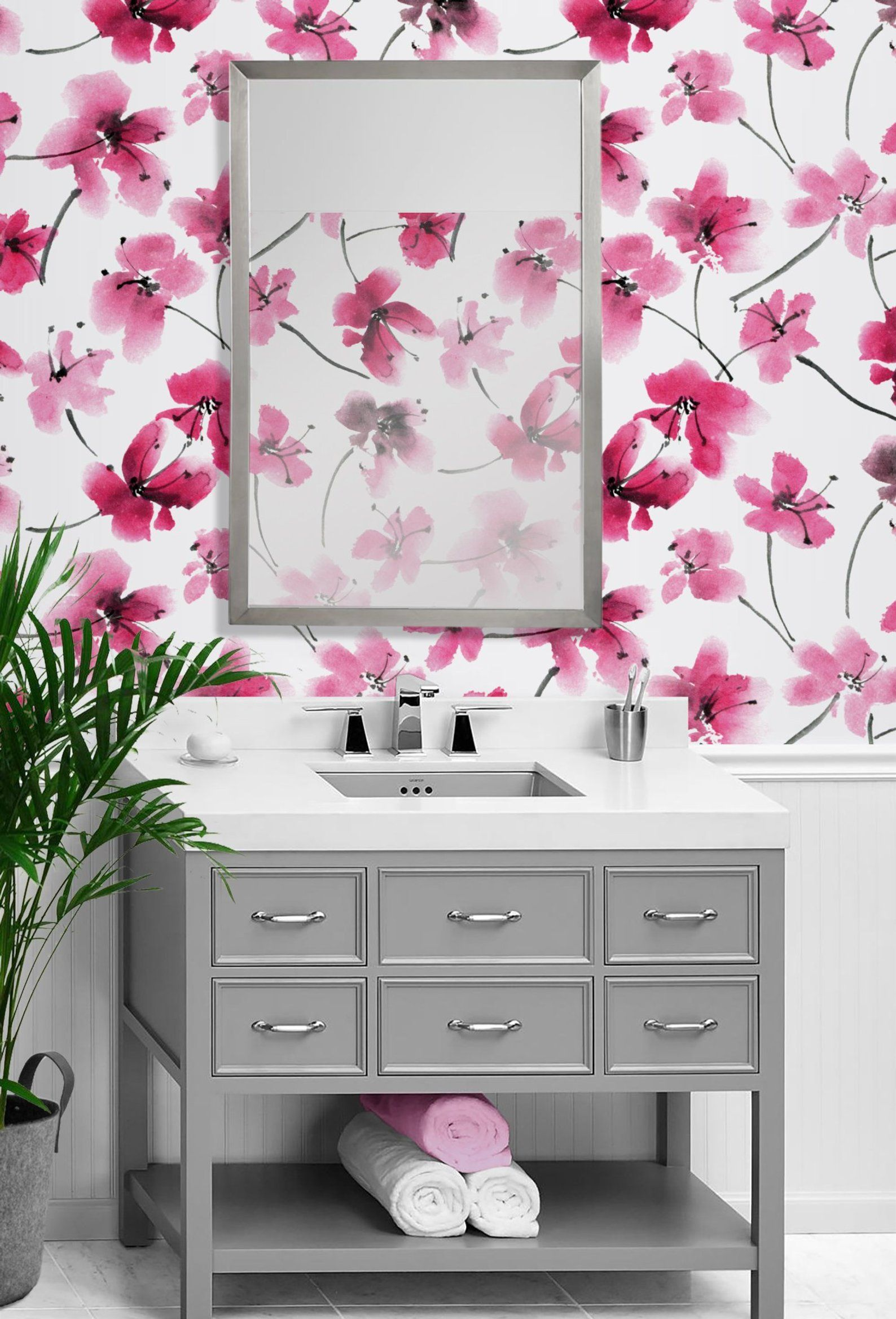 Watercolor Floral Repositionable Wallpaper Peel and Stick