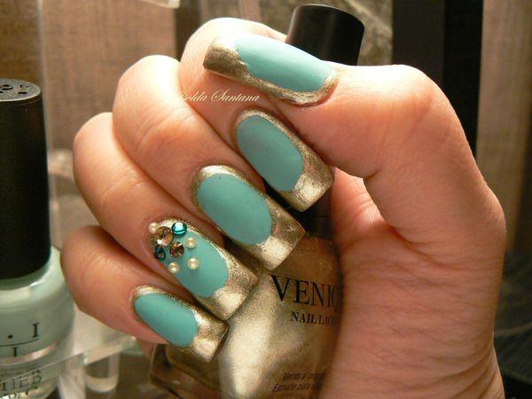 Venique China Glaze Swarovski Blue Jade Matte With Gold Jade Nails Womens Nails Funky Fingers