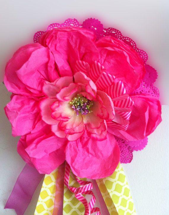 Hot Pink Tissue Flower by KimTaitano on Etsy, $40.00