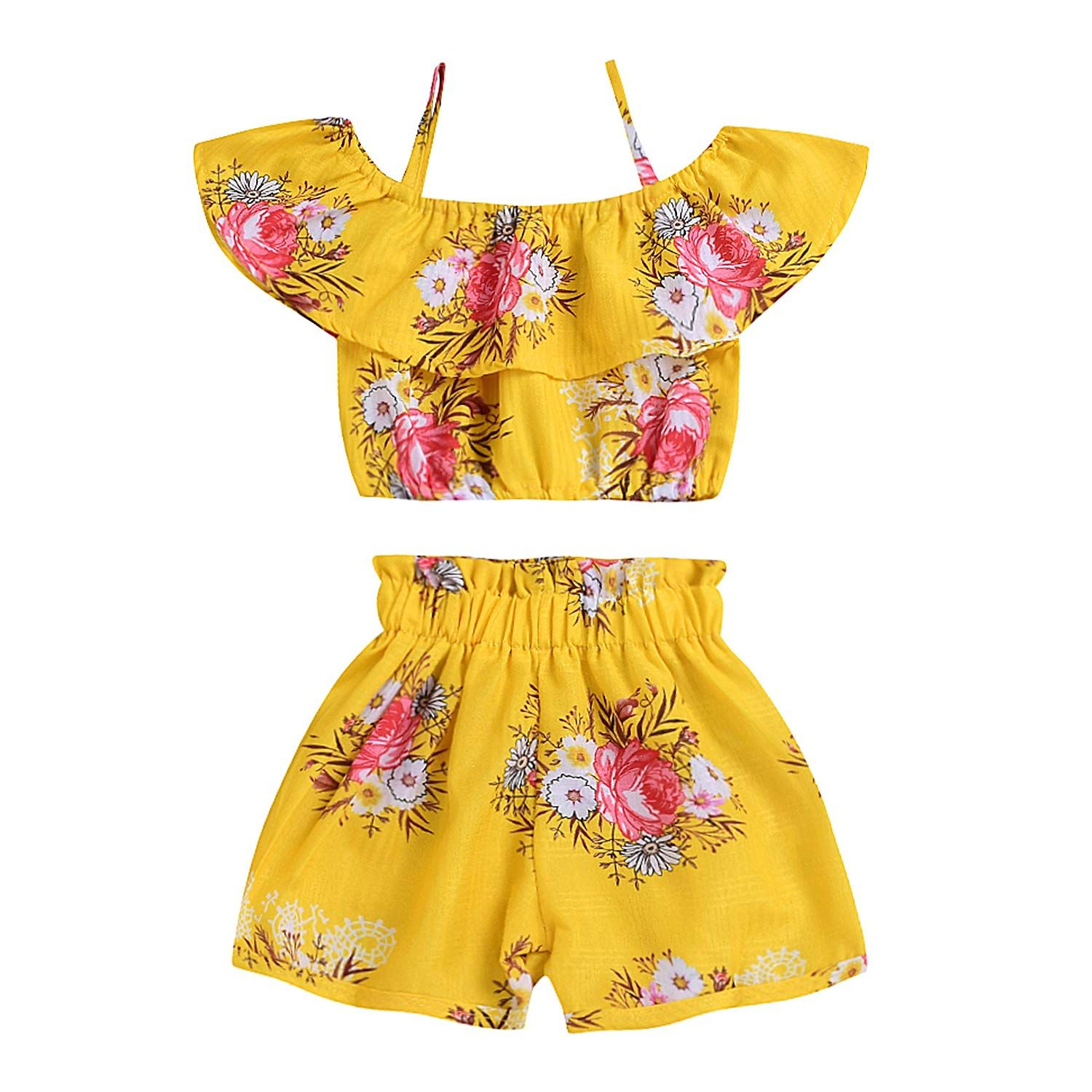 f29d558730ad Toddler Baby Girls Floral Spaghetti Strap Ruffled Tops Shorts Outfits  Clothes 2pcs Set Yellow Floral 12 Years Old   You can find out even more  information ...