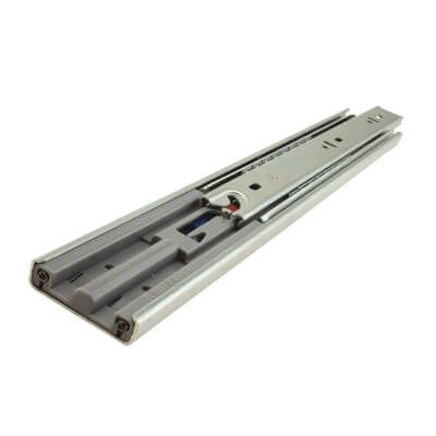 Motion 45.5mm Ball Bearing Drawer Runner - Soft Close - Double Extension - 550mm - Zinc | IronmongeryDirect
