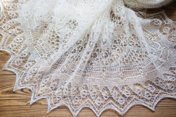 Hand knitted shetland lace shawl. Kid mohair and silk knit ...