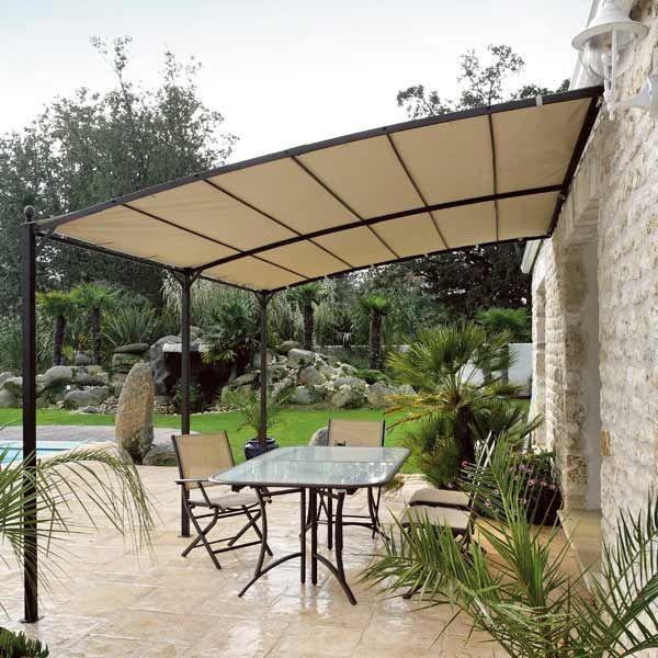 Toile beige pour tonnelle adoss e 3x4m vision maison for Pergolas adossee pour terrasse
