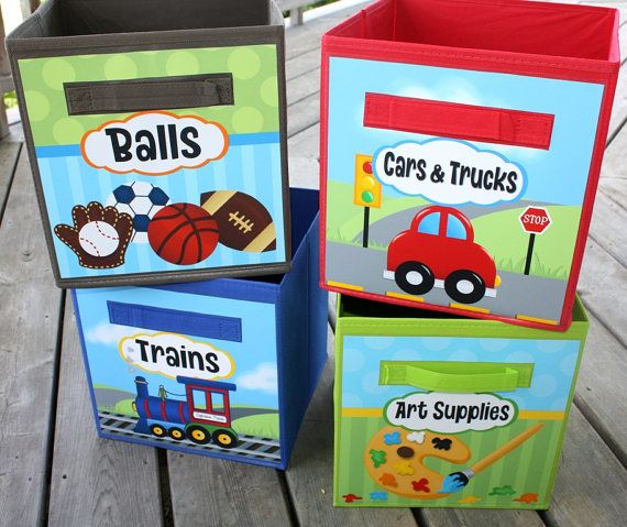 Bedroom Art Supplies: 4 Kids Toy Fabric Bins Boys Girls Balls Cars Trucks Trains