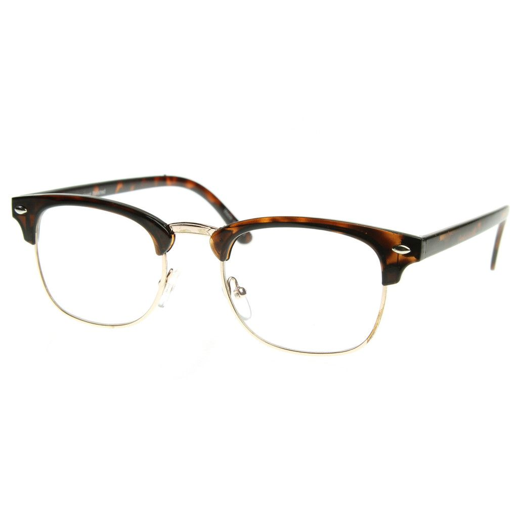 clubmaster fake glasses  Black Silver Clear Lens Club Master Half Rim Fashion Eye Glasses ...