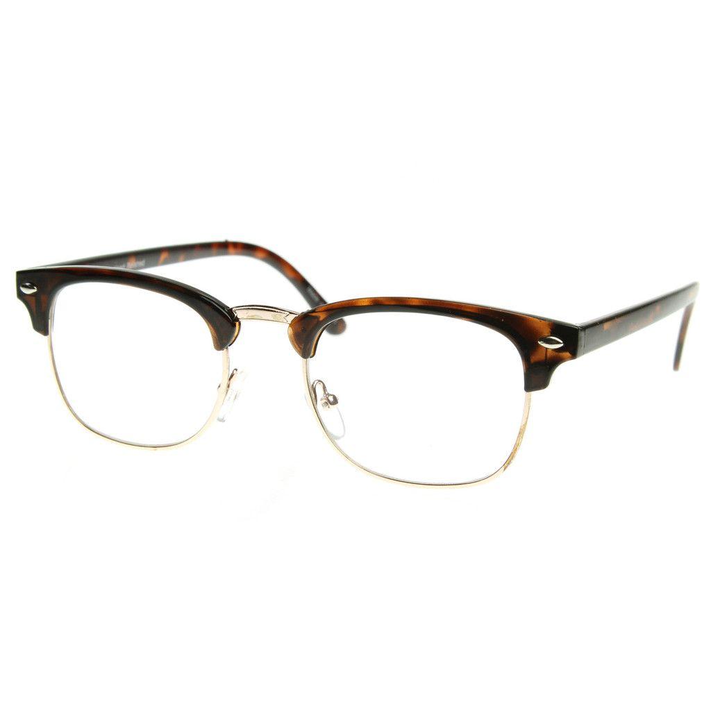 8341ee3c3 Classic Half Frame Clubmaster Wayfarer Clear Lens Glasses 8494 Tortoise