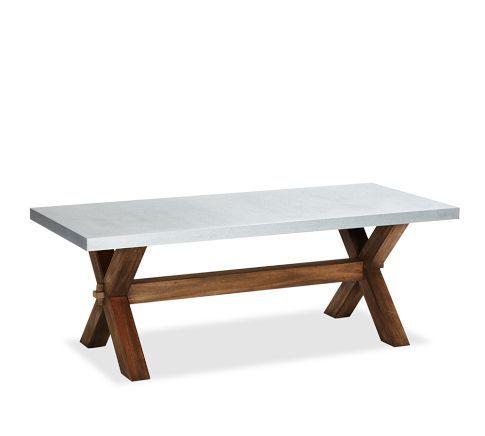Abbott Zinc Top Rectangular Dining Table Brown Outdoor