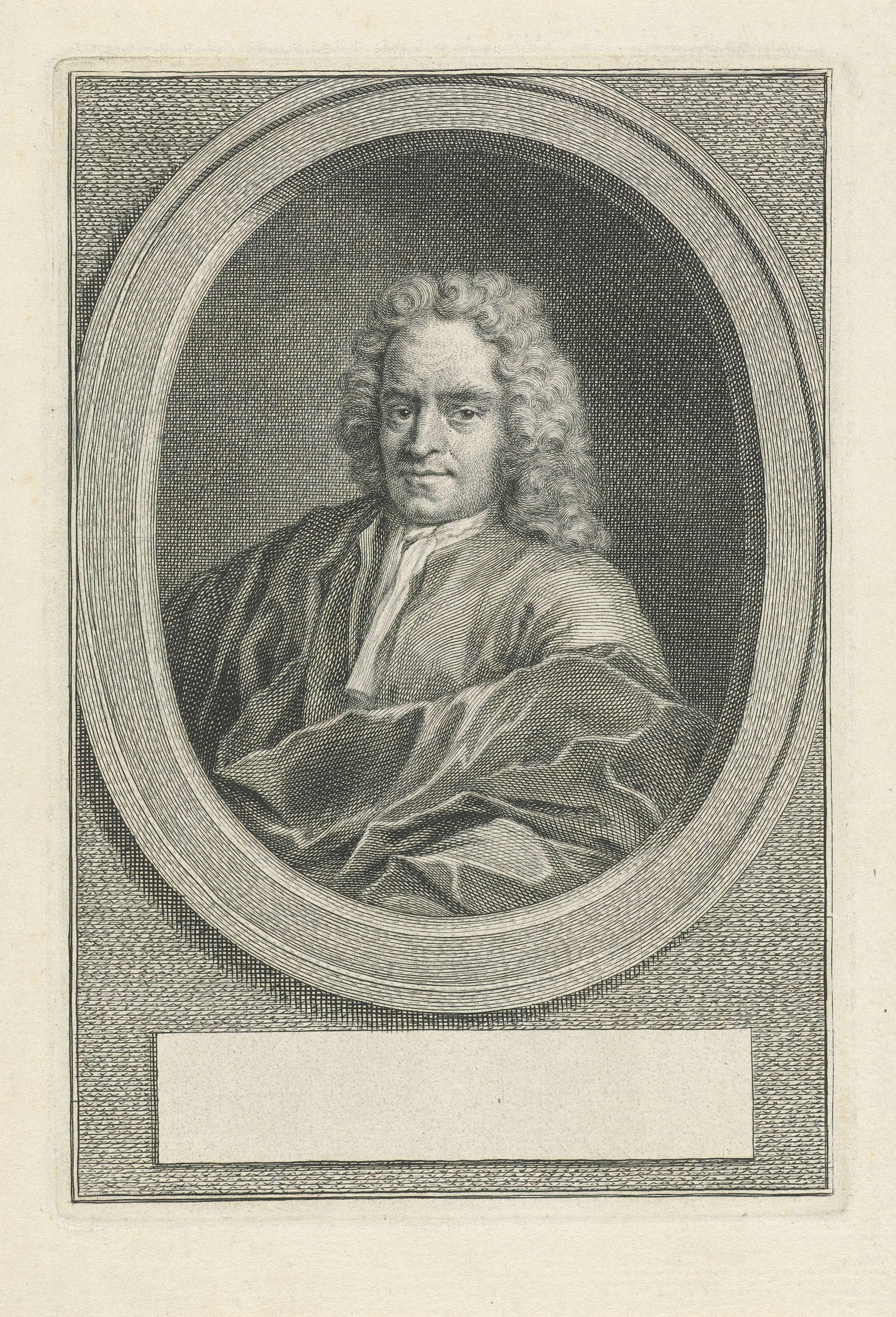 Jacob Houbraken | Portret van Herman Hengstenburgh, Jacob Houbraken, Nicolaas Verkolje, in or after 1726 - 1780 | Portret naar links van Herman Hengstenburgh in een ovaal. Onder het portret een leeg veld voor zijn naam.