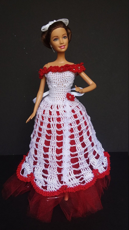 Rose Crochet Barbie Dress #dollvictoriandressstyles