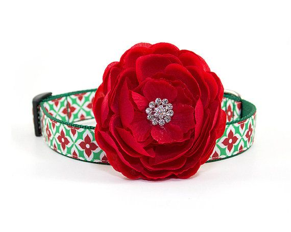 Dog Collar Flower Size: 3.5 Attachable Red by MonicaAnnPets