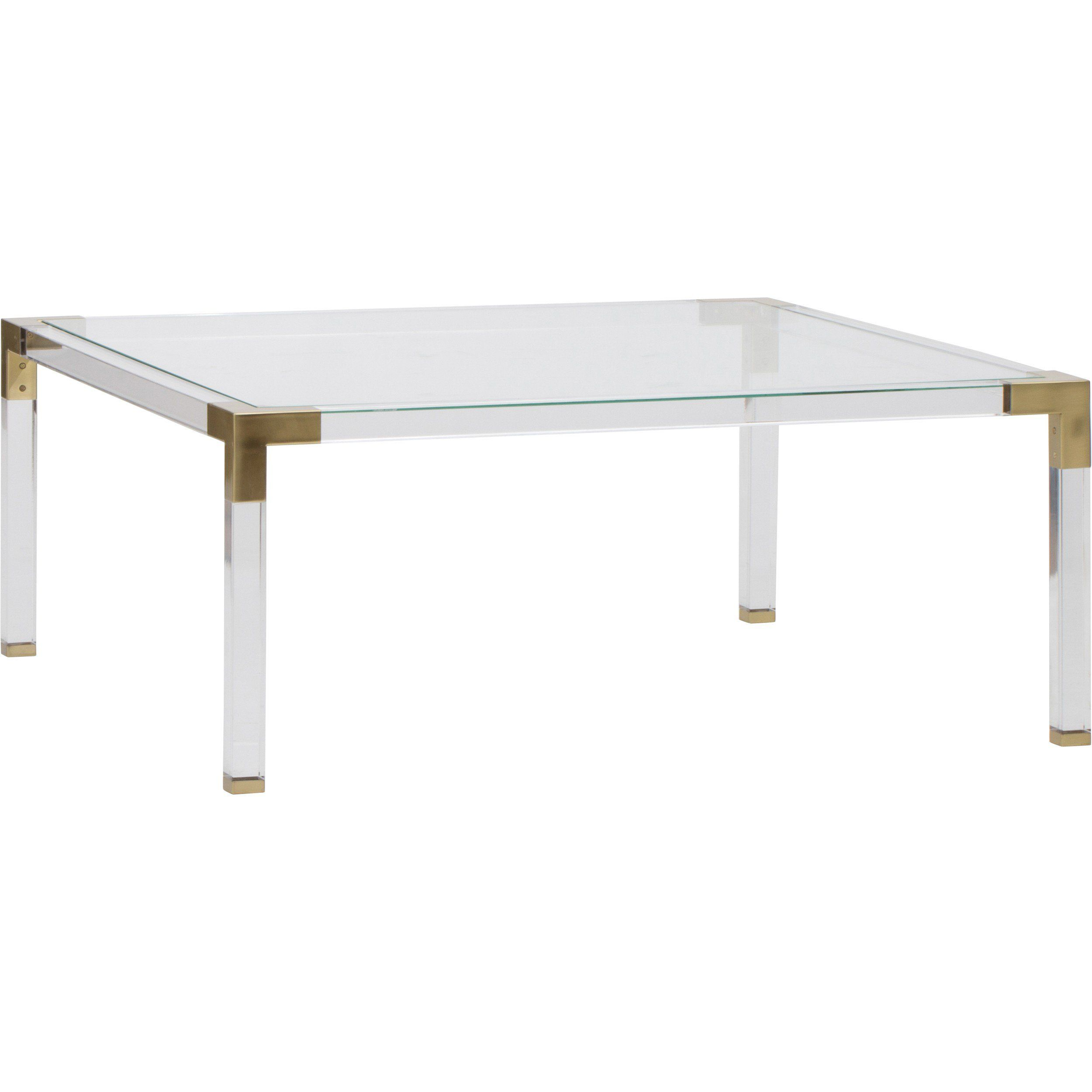 Maci Acrylic Coffee Table W Gold Hardware Accents