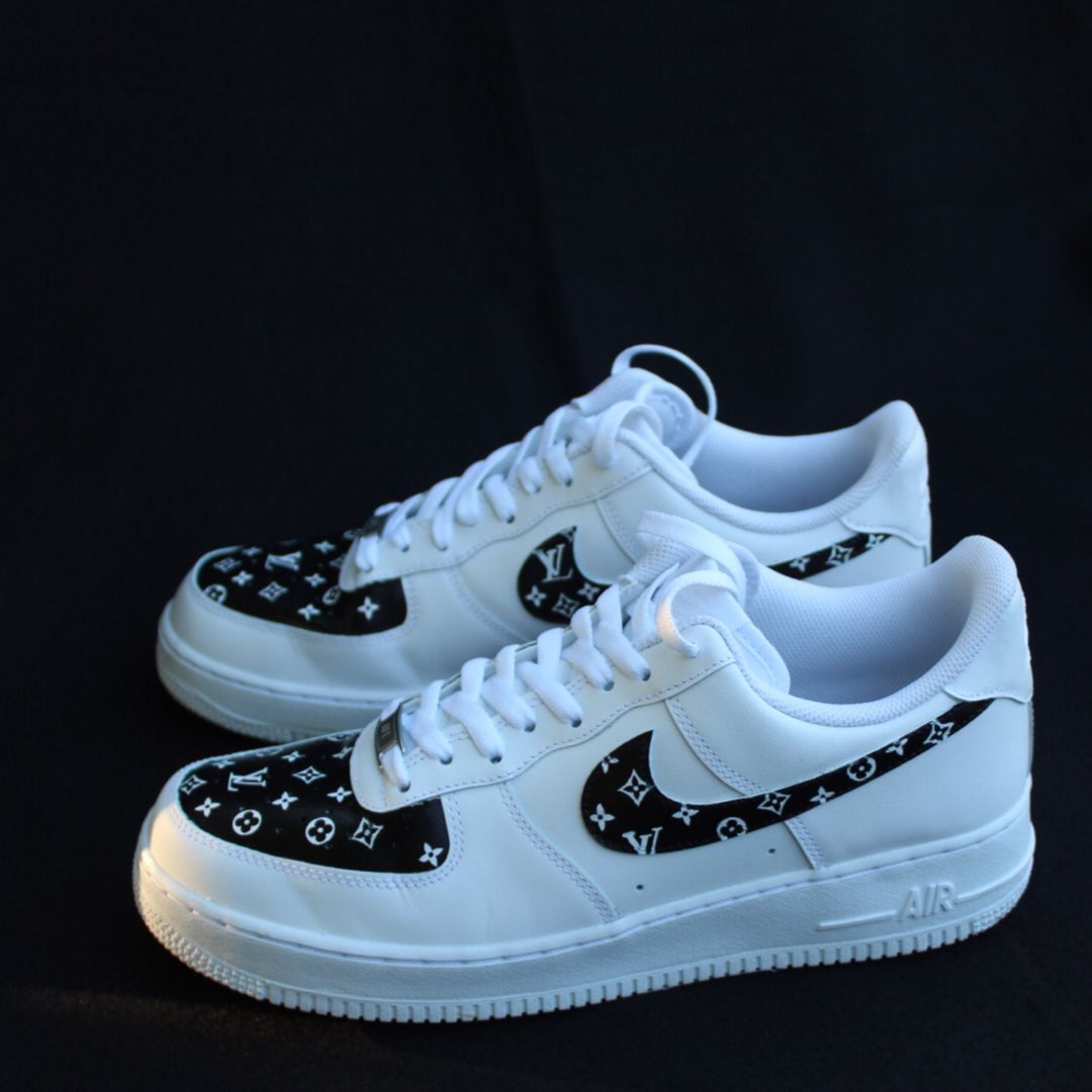 LV Air Force 1s   Black nike shoes