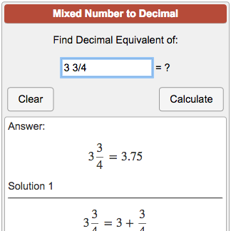 Convert Mixed Numbers And Mixed Fractions To Decimals Numbers