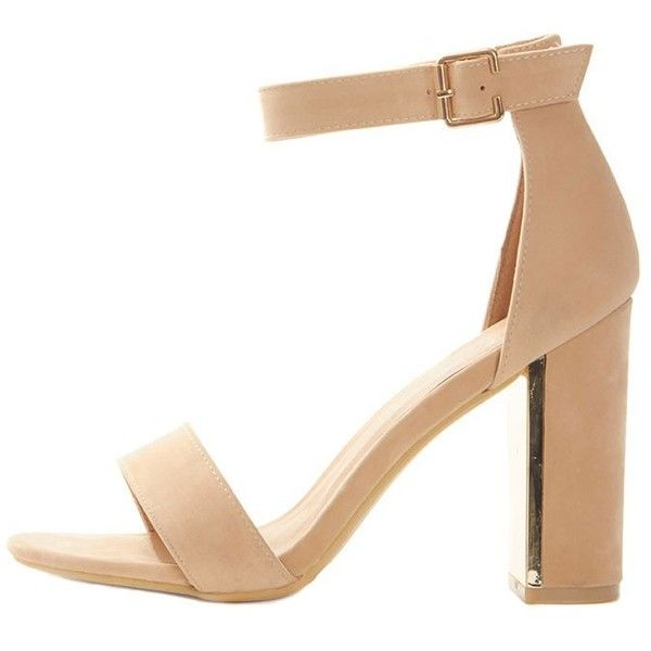 76b5ef4e62 Olivia Nude Suede Gold Trim Block Heeled Sandal ($46) ❤ liked on Polyvore  featuring shoes, sandals, heels, nude sandals, summer shoes, summer sandals,  ...