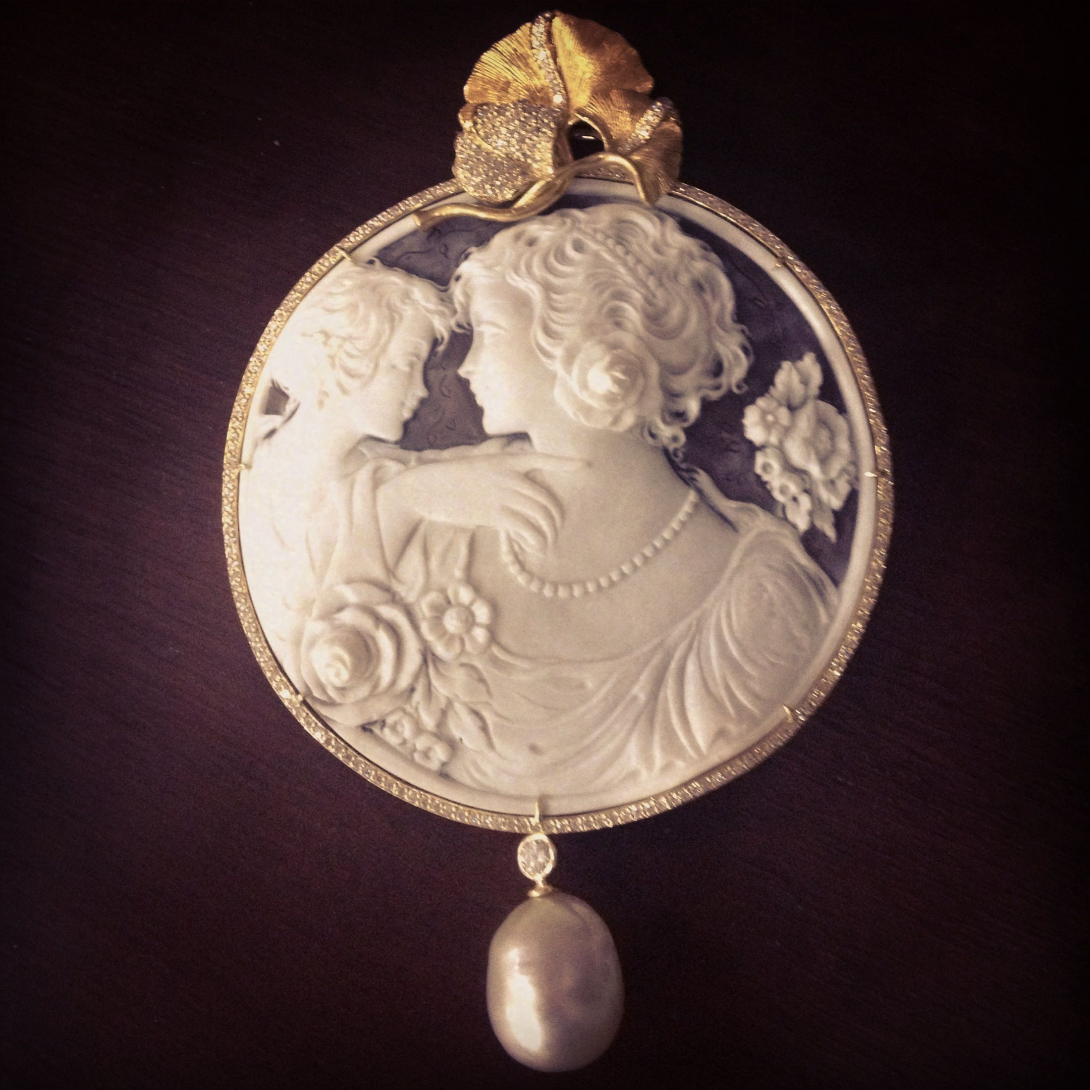Cameo from Italy. Diamonds and south sea pearl in yellow gold. Designed by Ginny Dizon.