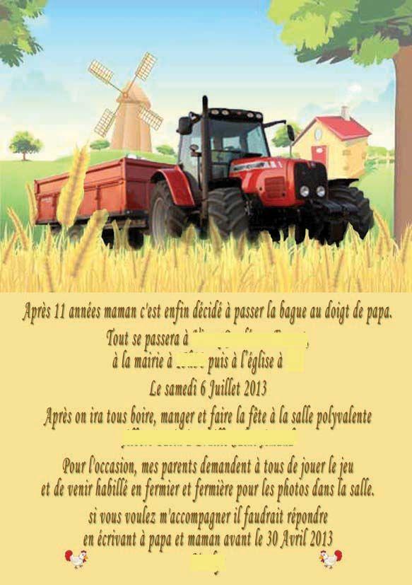 """Exceptionnel faire-part mariage thème """"Fermiers amoureux"""" (ferme, tracteur et  DU05"""